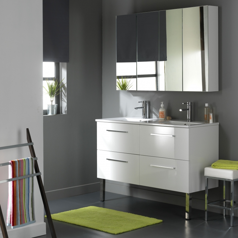 vente meubles salle de bain 120 cm meubles 4 tiroirs coloris blanc. Black Bedroom Furniture Sets. Home Design Ideas