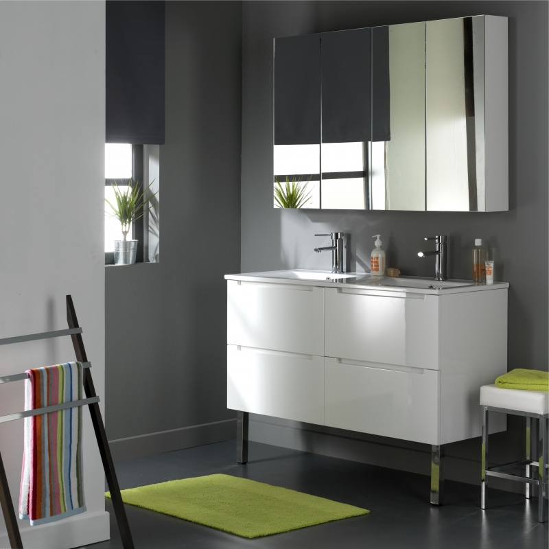 meuble de salle de bain meubles de 120 cm avec 4 tiroirs blanc. Black Bedroom Furniture Sets. Home Design Ideas