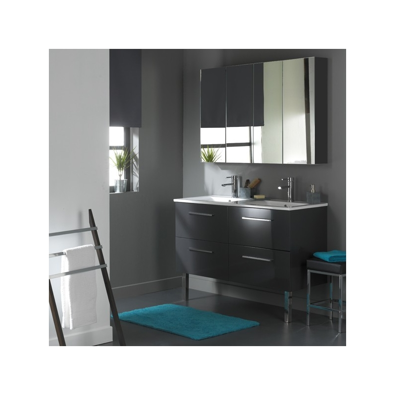 meuble de salle de bain 120 cm 4 tiroirs gris laqu r f b3r622012 batipass. Black Bedroom Furniture Sets. Home Design Ideas