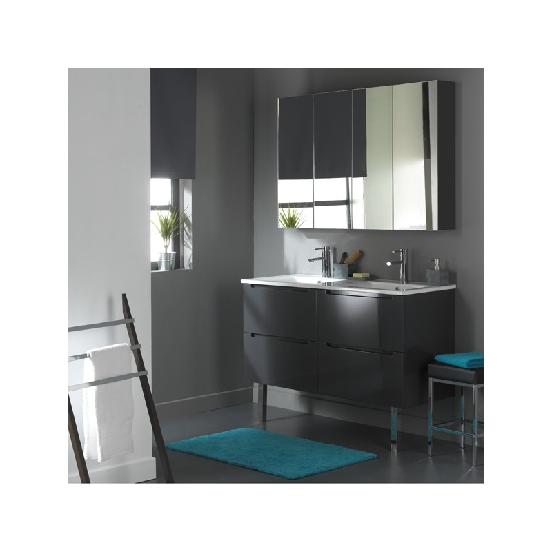 meuble de salle de bain 120 cm 4 tiroirs gris laqu ref 622014 622014. Black Bedroom Furniture Sets. Home Design Ideas