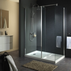 Paroi de douche Ensemble Walk-in reversible D 140x90x201cm en verre transparent 6mm