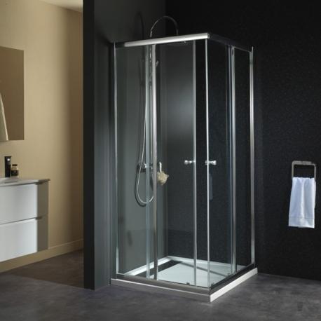 Porte de douche portes coulissantes design sur planete bain - Porte douche en verre ...