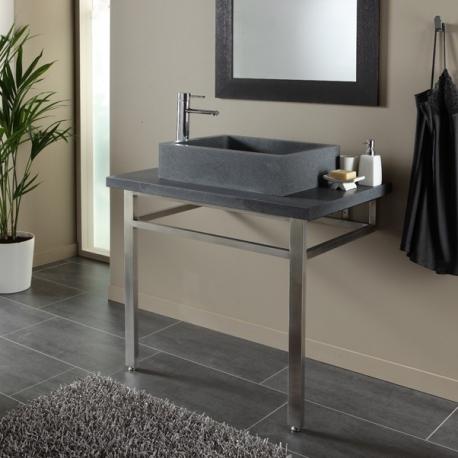 Ensemble plan + vasque pierre naturelle gris ardoisé moderne