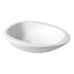 Vasque à poser galet en céramique blanche