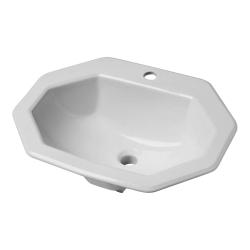 Vasque à encastrer octogonale en céramique blanche