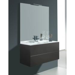 Meuble de salle de bain simple à suspendre taupe satiné