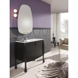 Meuble de salle de bain à poser simple vasque design laqué noir satiné