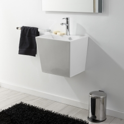 Lavabo à suspendre rectangle blanc contemporain