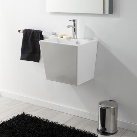 Lavabo à suspendre en céramique rectangle blanc contemporain