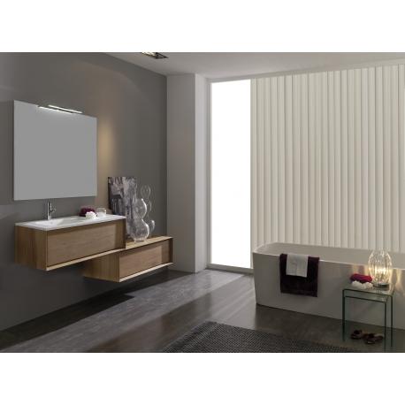 Meuble de salle de bain simple vasque en bois massif + complément