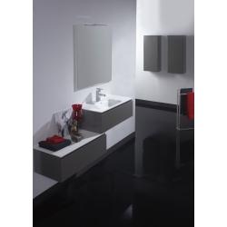 Meuble de salle de bain simple vasque taupe satiné