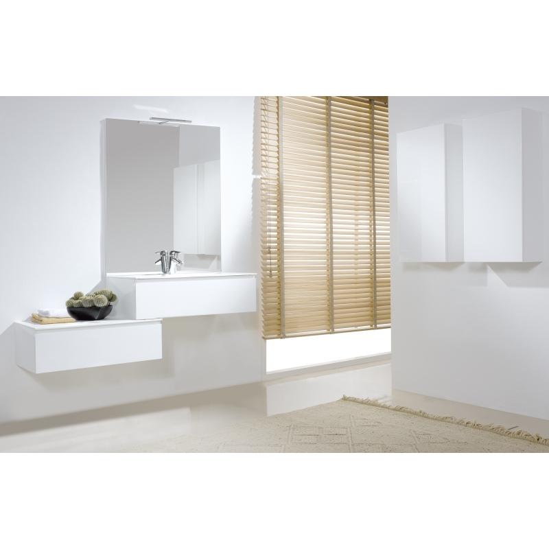 Meuble pour salle de bain meubles coloris blanc - Meuble salle de bain gain de place ...
