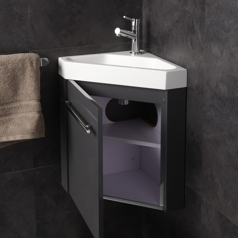 Meuble lave main de coin gris pas cher planetebain for Meuble lave main d angle wc