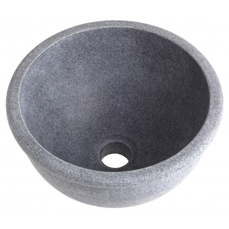 Vasque a poser ronde style ancien – Vasques pierre grise ardoise