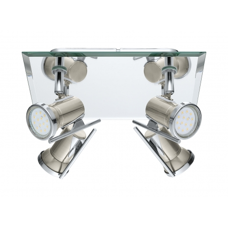 Plafonnier chromé design avec 4 spots LED