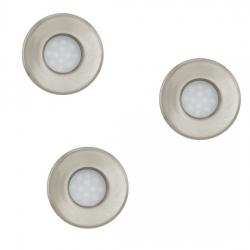 Lot de 3 spots à encastrer à LED en acier brossé