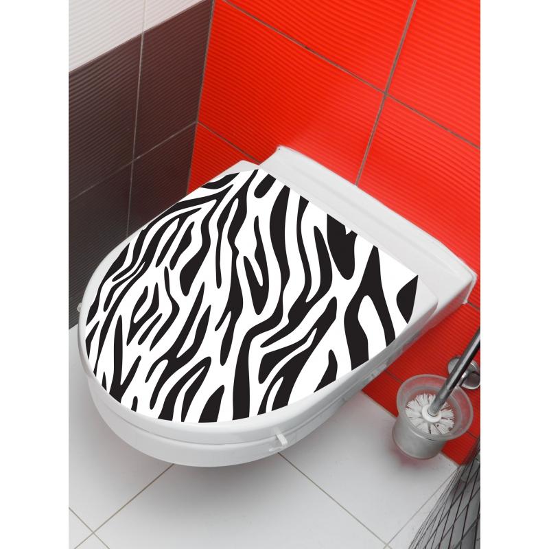 PLANETE BAIN OFFICIEL Sticker wc zèbre, Blanc SPECIALISTE...