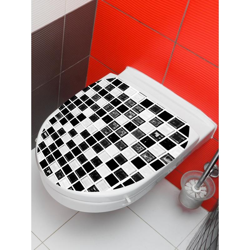 PLANETE BAIN OFFICIEL Sticker wc mosaïque, Blanc SPECIALI...