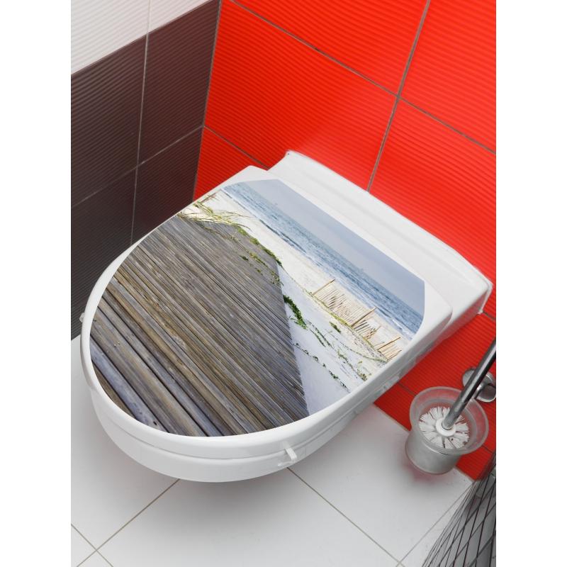PLANETE BAIN OFFICIEL Sticker wc plage, Gris SPECIALISTE ...