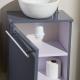 Meuble lave-mains design couleur gris souris + bol en céramique