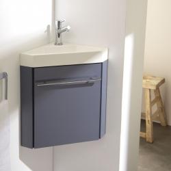 Lave-mains d'angle complet avec meuble couleur gris souris