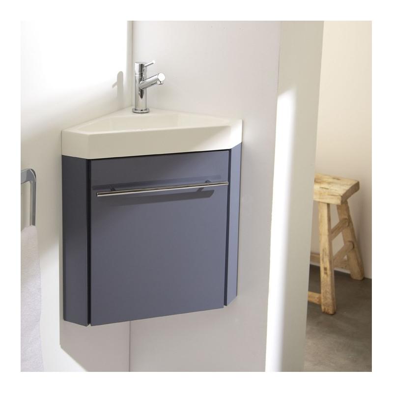 lave main d 39 angle gris avec porte serviette pas cher planetebain. Black Bedroom Furniture Sets. Home Design Ideas