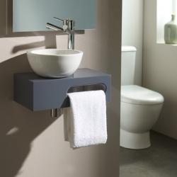 Lave-mains complet sur console couleur gris souris pour WC