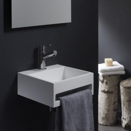 Lave-mains en solid surface Pesaro avec porte-serviettes