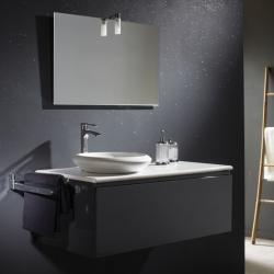 Meuble de salle de bain gris + plan vasque céramique + vasque ronde céramique