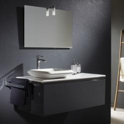 Meuble de salle de bain gris + plan en céramique + vasque carrée en céramique