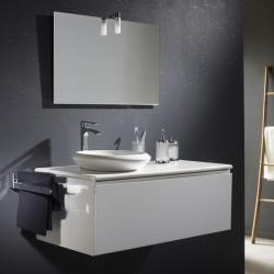 Meuble blanc + plan céramique + vasque ronde en céramique