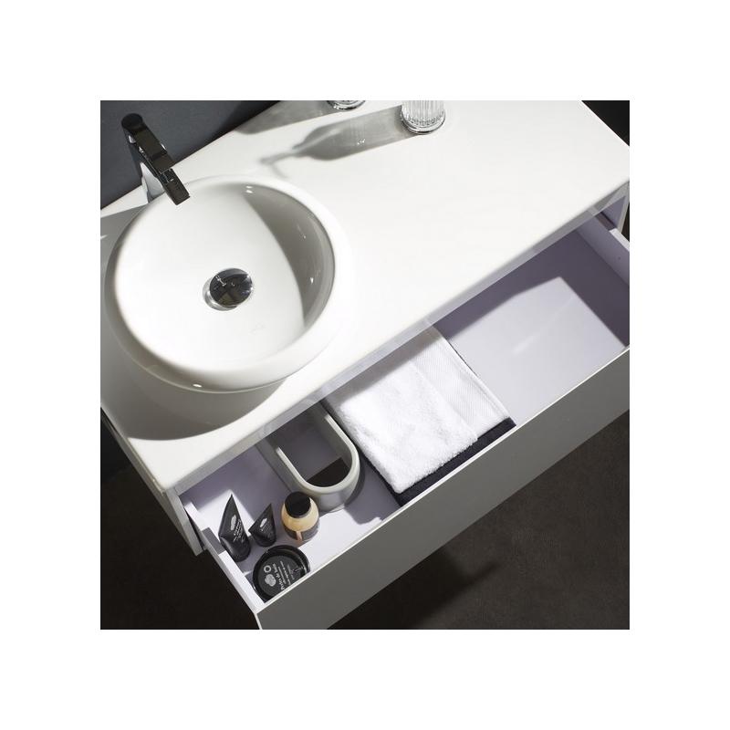 Achat meuble blanc avec plan c ramique et vasque ronde for L or du temps meuble