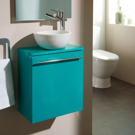 Meuble lave-mains complet couleur vert lagon + bol en céramique