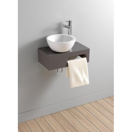 Meuble Lave Main Suspendu Pour WC + Vasque Ceramique Blanc Bol