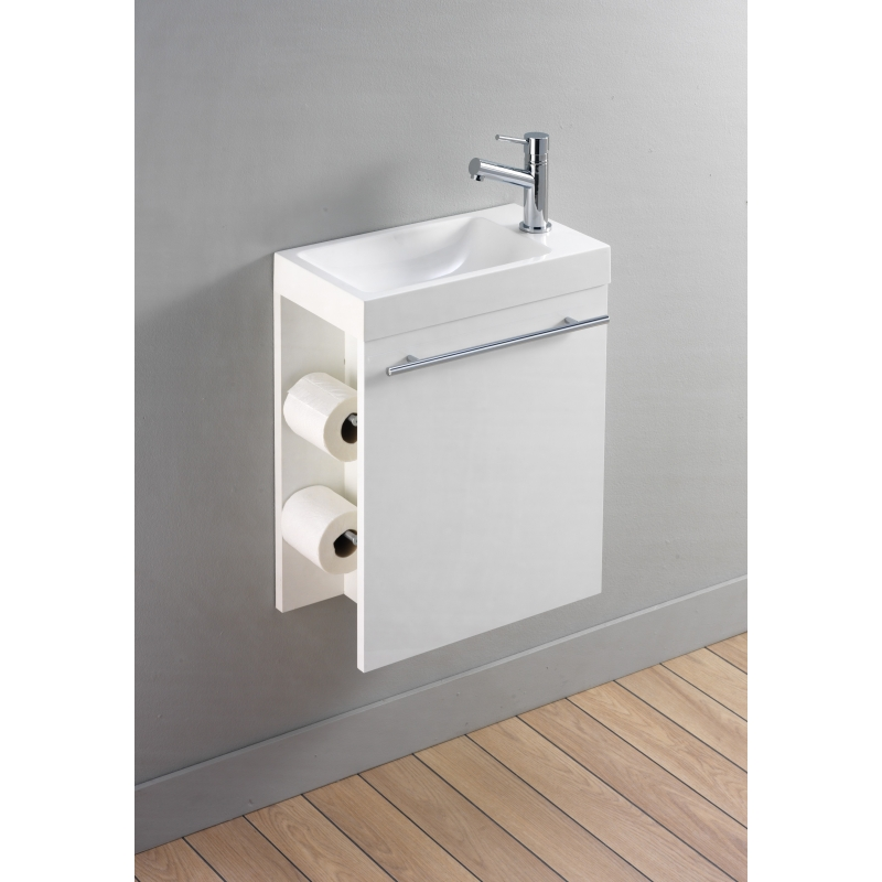 Lave mains wc blanc meuble distributeur de papier toilette for Meuble lave main toilette