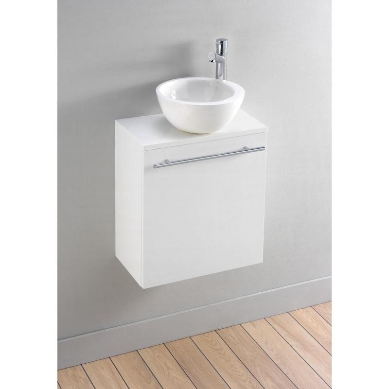 Lave Main Complet Avec Vasque Bol Blanc Laqué Moderne - PlaneteBain