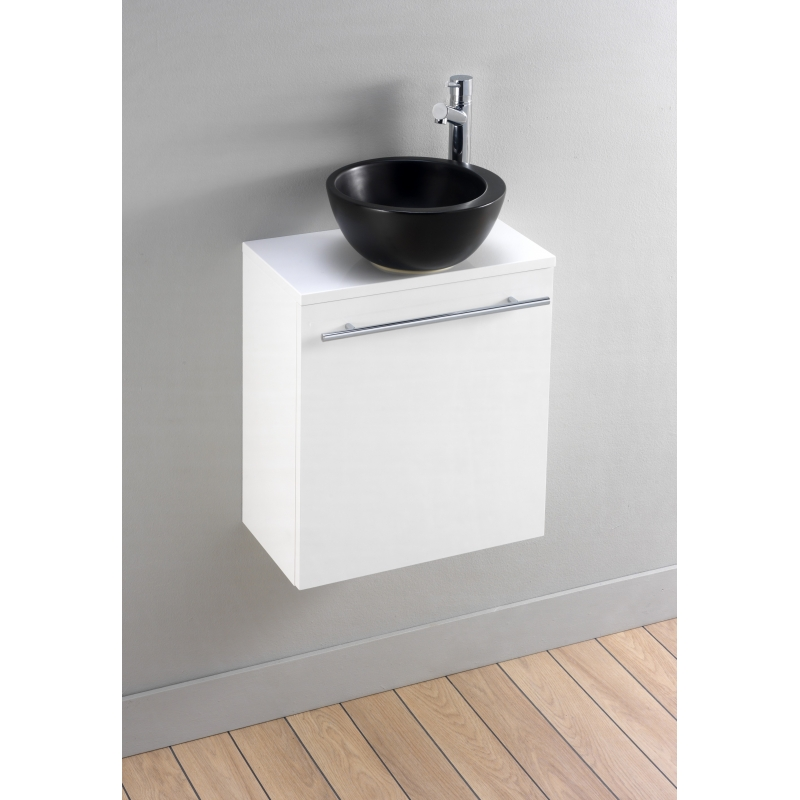 Meuble lave main blanc avec vasque bol noir design for Lave mains meuble