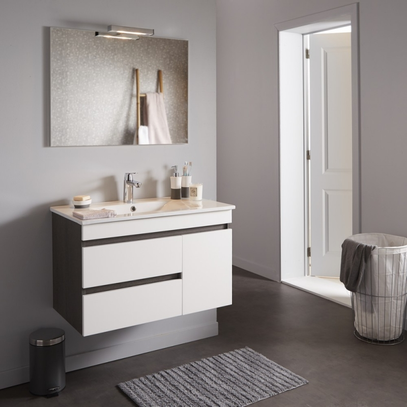 Achat Meuble De Salle De Bain Décor Wengé Avec Miroir Éclairant Et Vasque