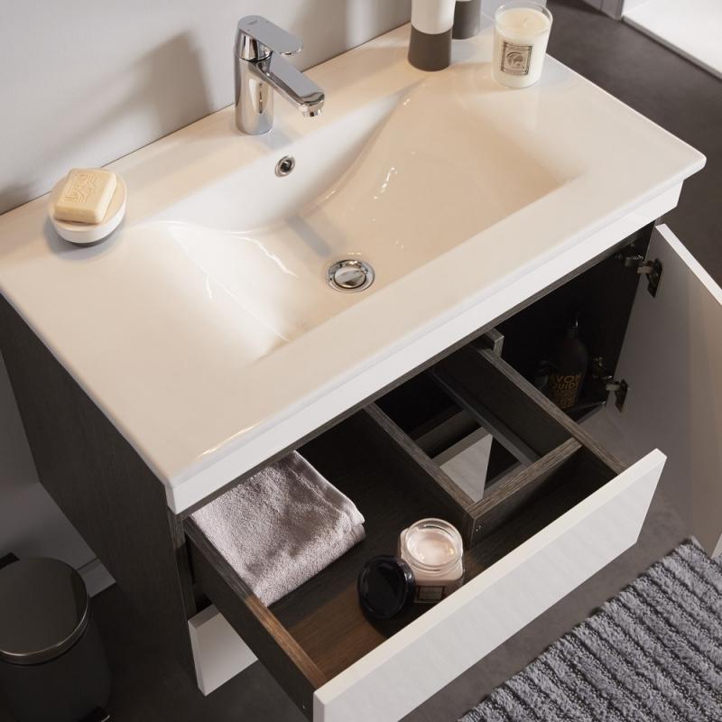 Achat meuble de salle de bain d cor weng avec miroir clairant et vasque - Miroir salle de bain eclairant ...