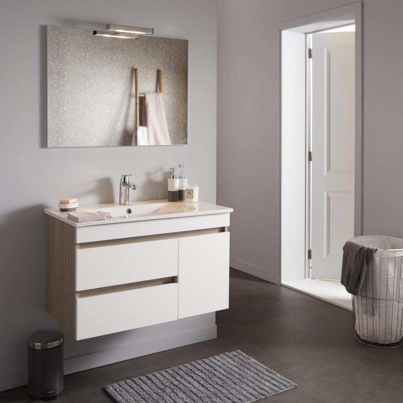 Achat de meuble salle de bain avec plan vasque et miroir clairant d cor ch ne sur planete bain - Meuble salle de bain en promo ...