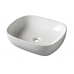 Vasque à poser rectangulaire en céramique blanche