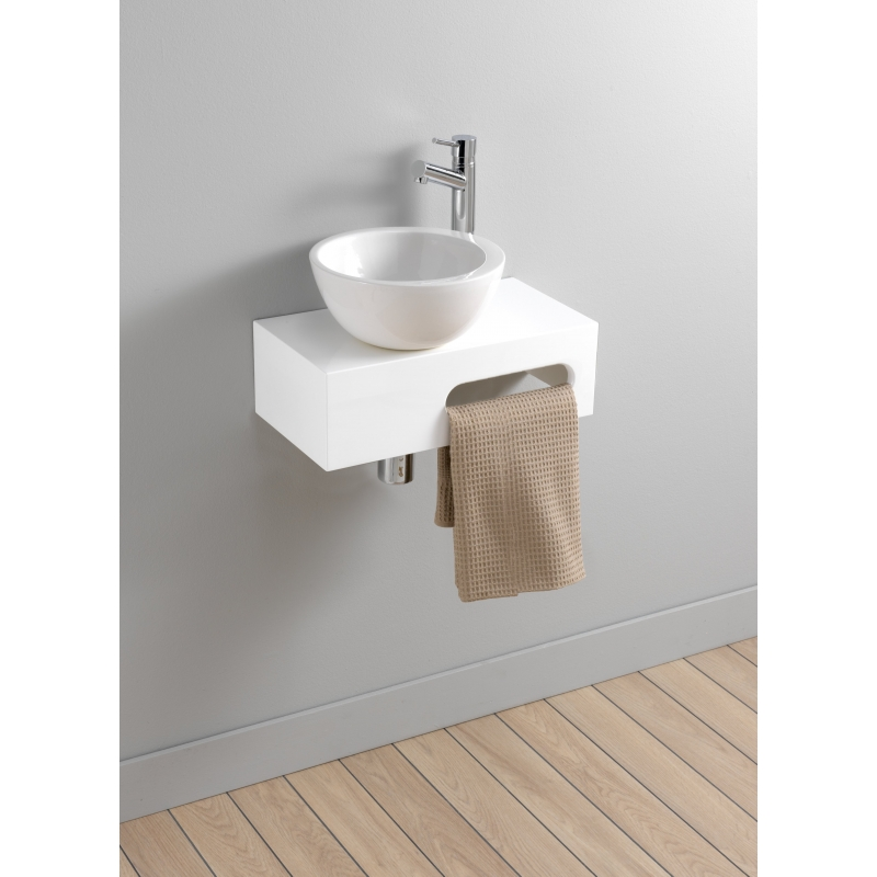 Meuble lave mains mural blanc brillant vasque bol for Meuble lave main toilette