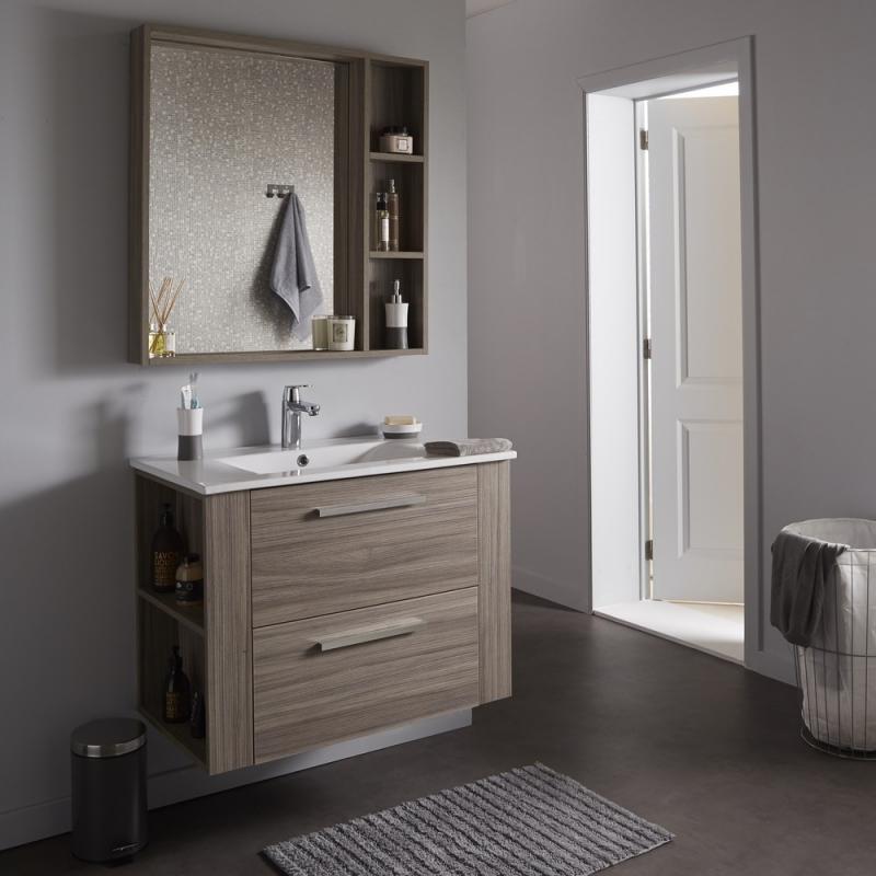 achat de meuble de salle de bain sous vasque avec plan vasque et miroir finition olme gris. Black Bedroom Furniture Sets. Home Design Ideas