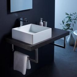 Vasque à poser carree 40X40 blanche en solid surface