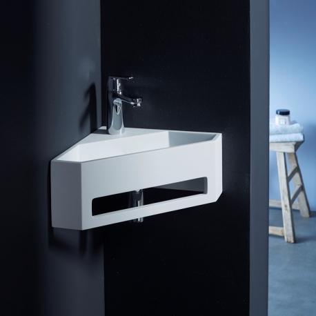 lave mains d 39 angle lavabo blanc c ramique pas cher planete bain. Black Bedroom Furniture Sets. Home Design Ideas