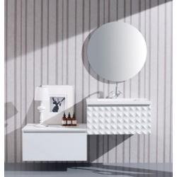Meuble de salle de bain 99 cm blanc laqué + complément