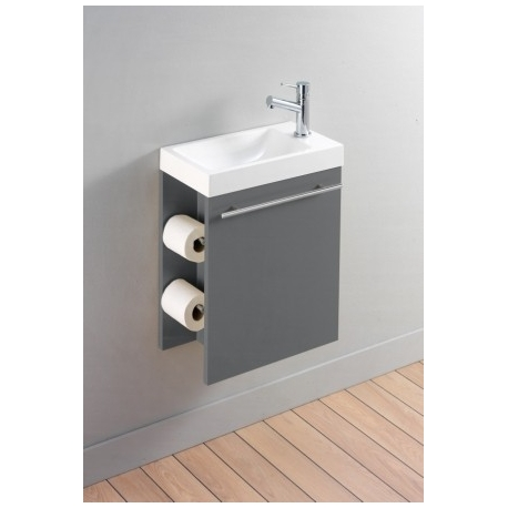 Meuble lave-mains complet avec distributeur de papier couleur anthracite + mitigeur eau chaude/eau froide
