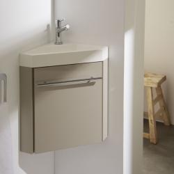Meuble lave-mains d'angle couleur daim avec mitigeur eau chaude/eau froide