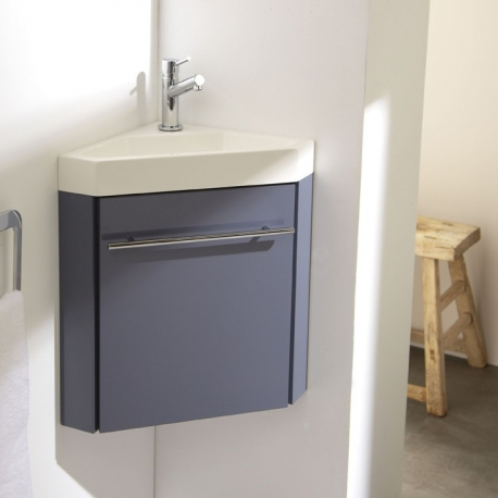 Lave-mains d'angle complet avec meuble couleur gris souris + mitigeur eau chaude/eau froide