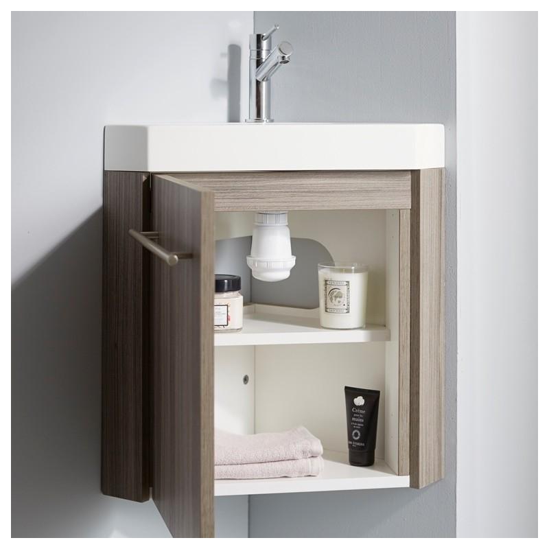achat meuble lave mains d 39 angle couleur olme gris pas cher avec mitigeur. Black Bedroom Furniture Sets. Home Design Ideas